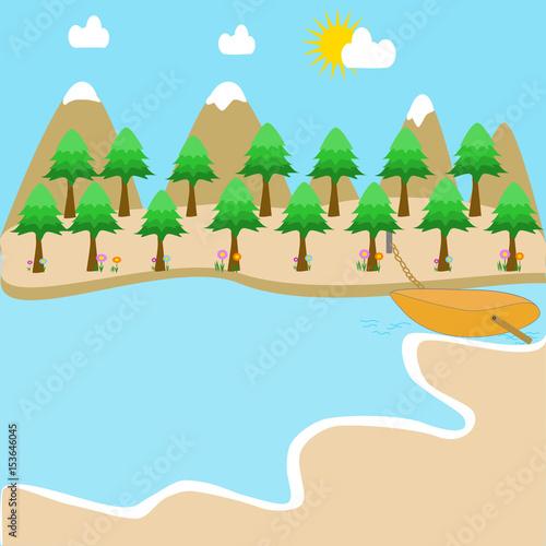 Foto op Plexiglas Turkoois A scenic landscape with a beach.