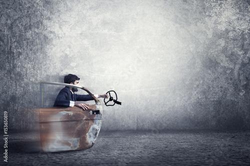 Garden Poster Water Motor sports Man imagines driving a sports car