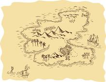 Pirate Treasure Map Sailing Sh...