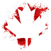Canada Maple Leaf With Blood Splash