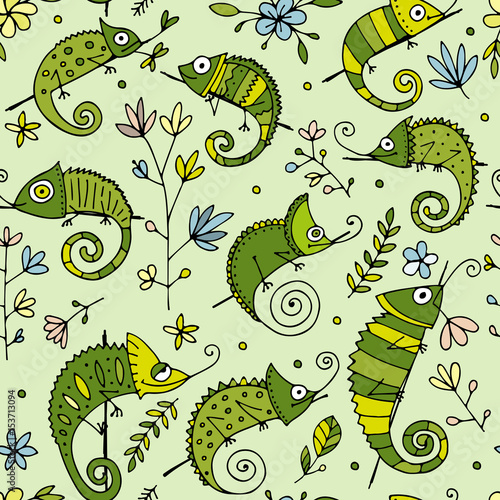 Fotobehang Bloemen vrouw Chameleon collection, seamless pattern for your design