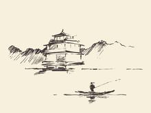 Oriental Landscape Pagoda Lake...