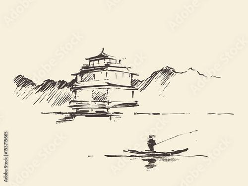 Obraz na płótnie Oriental landscape pagoda lake drawn vector sketch