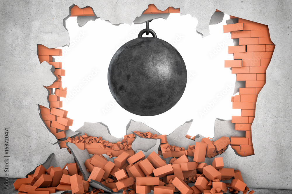 Photo & Art Print 3d rendering of a large black wrecking ball