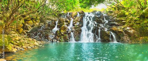 Recess Fitting Waterfalls Cascade Vacoas waterfall. Mauritius. Panorama