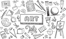 Black And White Fine Art Stationary Doodle And Tool Model Icon In Isolated Background. Art Subject Doodle Used For School Education Or Document Decoration With Subject Header Text, Create By Vector