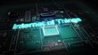 Hologram typo 'INTERNET OF THINGS' on CPU chip circuit, grow artificial intelligence technology.