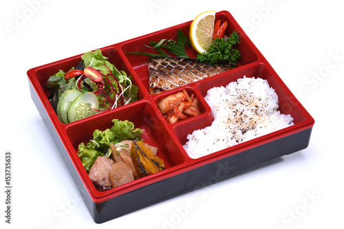 Saba Bento Set , Lunch box of Grilled Saba fish isolated on white background Canvas Print