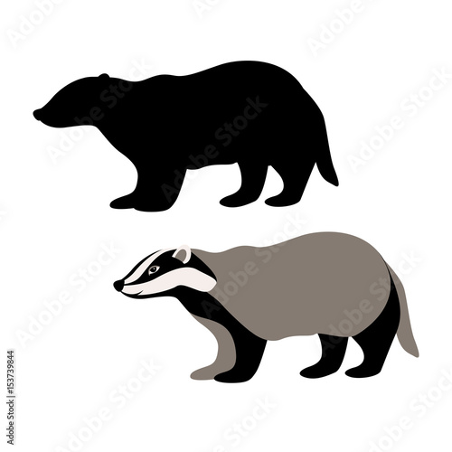badger vector illustration style Flat black silhouette Wallpaper Mural