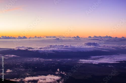 Tuinposter Purper 富士山頂からご雲海と来光