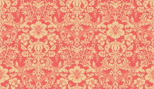 Vector Seamless Damask Pattern. Red And Yellow Image. Rich Ornament, Old Damascus Style Pattern For Wallpapers, Textile, Scrapbooking Etc.
