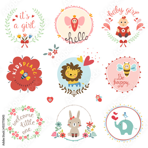Kids Elements Labels Frames Floral Wreaths Baby Girl Flowers