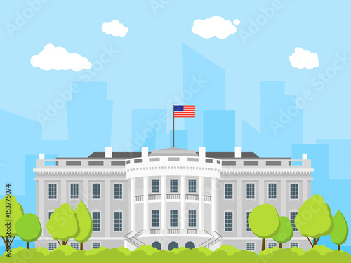 Cartoon White House Building. Vector Wallpaper Mural