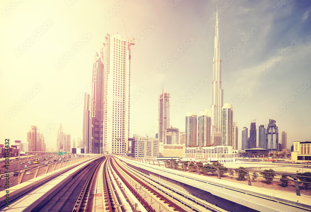 Photo & Art Print Dubai modern downtown seen from metro train, color ...