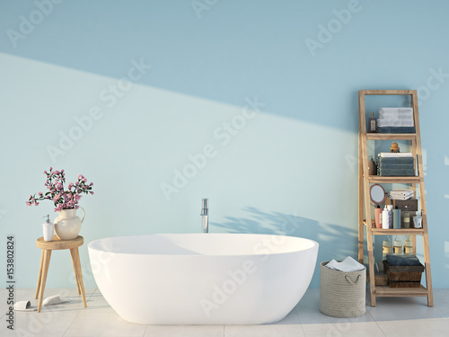 Fotografía  blue spa bathroom. 3d rendering