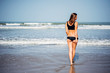 Young woman with nice body wearing black bikini with brown hair walking on the beach away from the camera