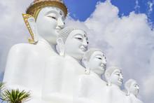 Five White Buddha Statues Phasornkaew Temple,in Phetchabun,Thailand