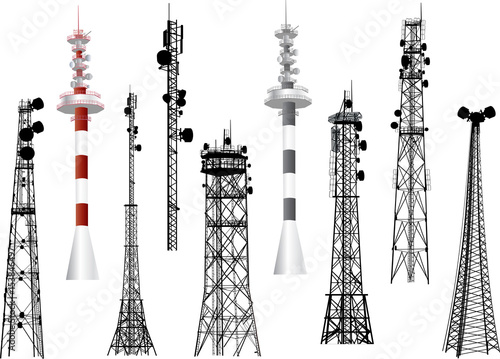 Photo group with nine antenna towers on white