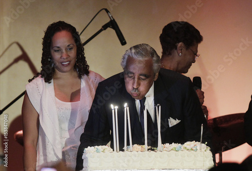 US Democratic Representative Charles Rangel Blows Out Birthday Candles In Front Of His Daughter Alicia During 80th And Fund Raiser At The