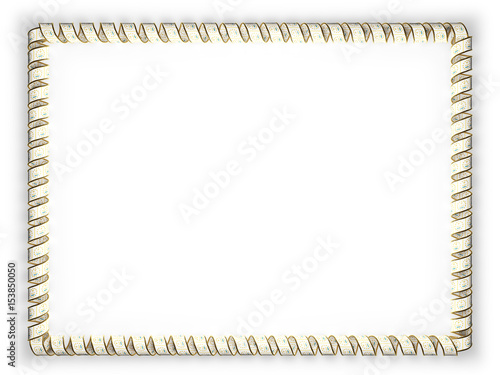 Frame and border of ribbon with the state Rhode Island flag, USA ...