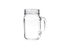 Empty Vintage Mason Jar On Whi...