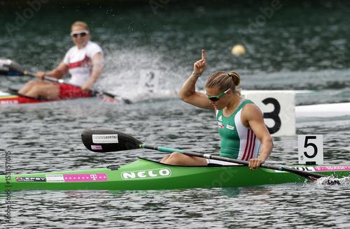 Kozak of Hungary celebrates victory after the women's kayak