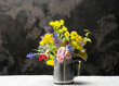 vase with fresh flowers close-up with copy space