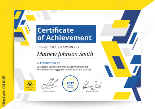 Certificate Of Achievement Template In Modern Design Business