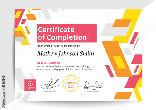 Certificate Of Completion Template In Modern Design Business