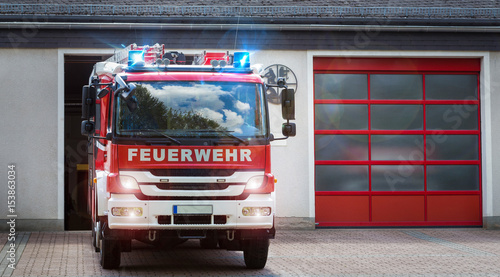 german firefighter truck moving out Canvas Print