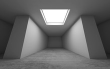 Empty Room Interior With Ceiling Light, 3d