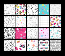 Set Of 20 Different Neo Memphis Style Seamless Patterns.