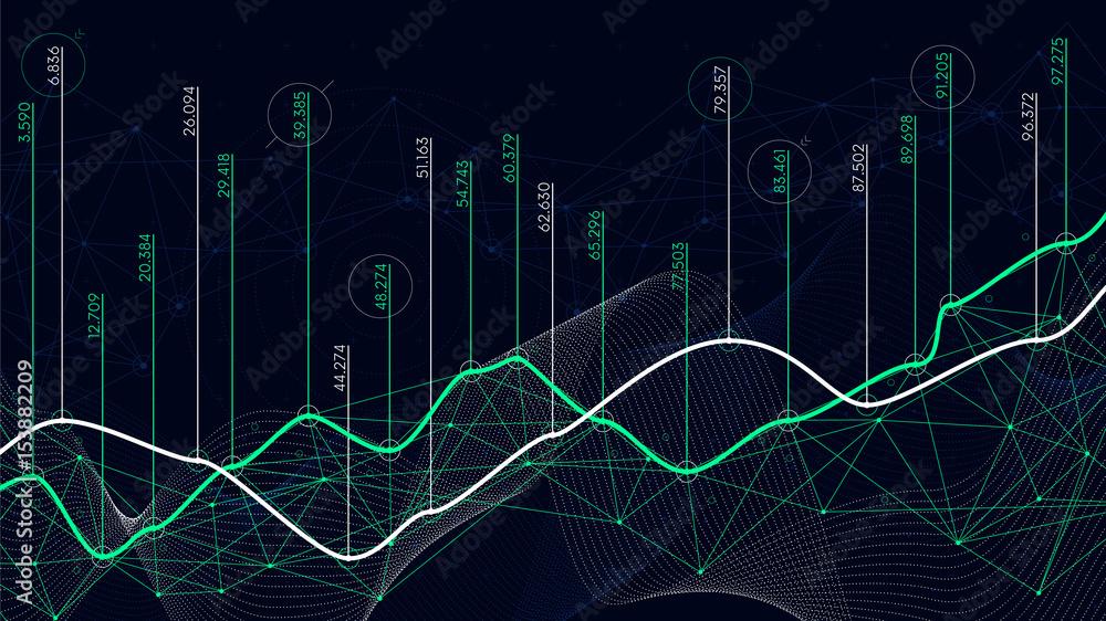 Fototapety, obrazy: Digital analytics concept, data visualization, financial schedule, vector