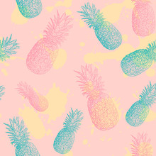 Seamless Pattern With Pineapples And Spots