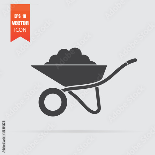 Wheelbarrow icon in flat style isolated on grey background. Wallpaper Mural