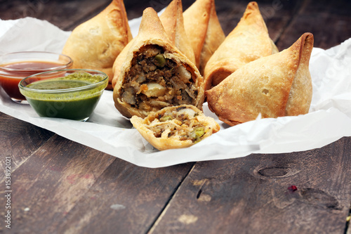 Fényképezés  Indian special traditional street food punjabi samosa