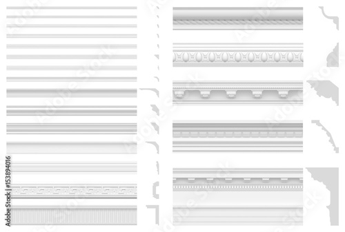 Set of cornices and friezes isolated on white background Wallpaper Mural