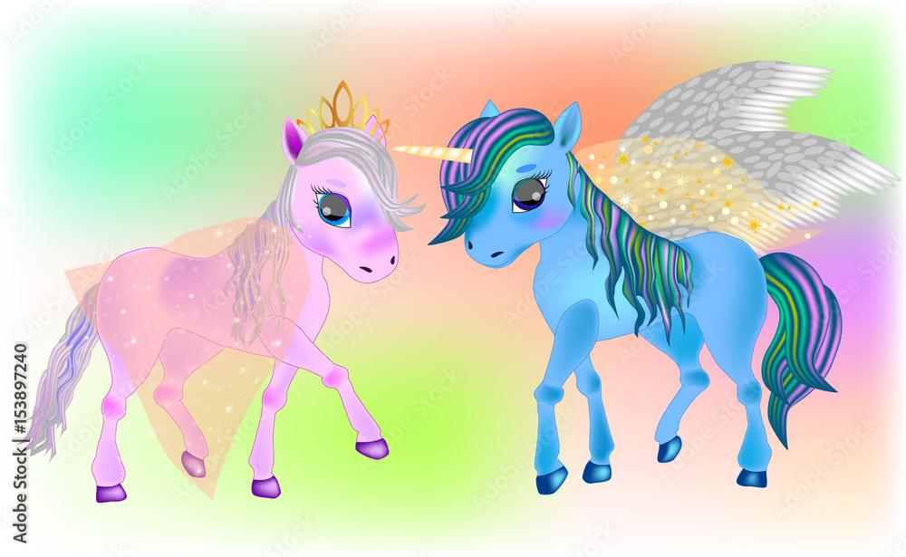 Photo  Fairy Pegasus and  Beautiful Ponies