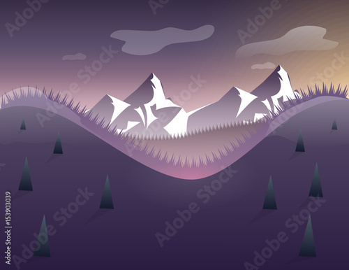 Foto op Aluminium Aubergine Landscape with mountains, sky, stars, trees. vector illustration on the theme of winter mountains in flat style.