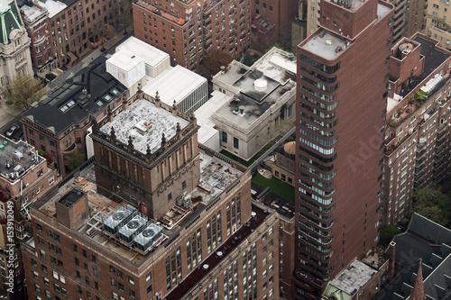 Foto op Plexiglas New York TAXI new york manhattan cityscape aerial view on foggy day