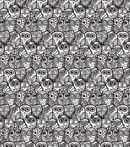 Cotton fabric Owls hand drawn seamless pattern