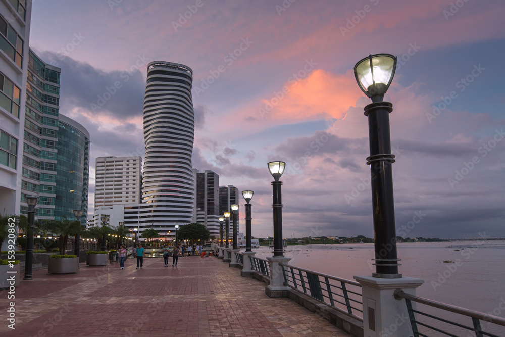 Fototapety, obrazy: View of the Malecon and the Guayas River in Guayaquil, Ecuador