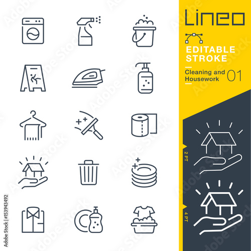 Obraz Lineo Editable Stroke - Cleaning and Housework line icons
