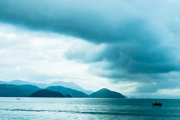 FototapetaBlue sea and mountains in Ubatuba, São Paulo, Brazil