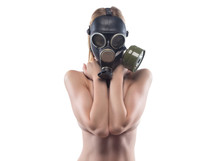 Young Slim Woman In Gas Mask Covered Breast
