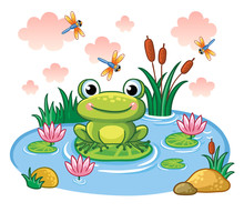 The Frog Sits On A Leaf In The Pond. Vector Illustration In Childrens Style. Lake With Insects And Animals.