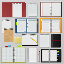 Set Of Open Realistic Notebook...
