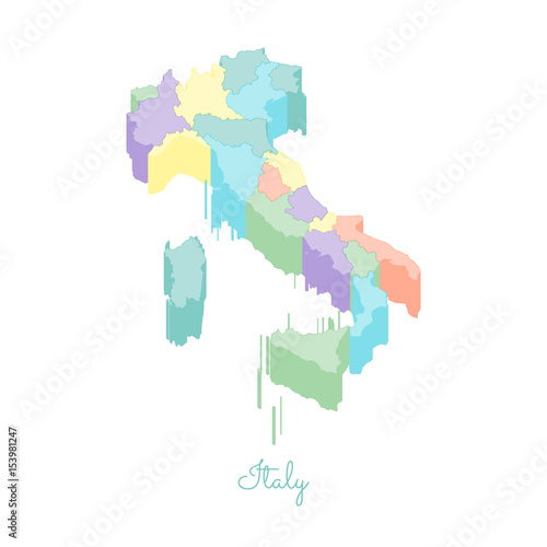 Italy Region Map.Italy Region Map Colorful Isometric Top View Detailed Map Of Italy