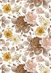Fototapeta Vintage Seamless classic pattern. Beautiful flowers Chamomile Rose. Vintage background realistic blooming flowers. Drawing engraving textile. Freehand. Wallpaper baroque. Vector Victorian style Illustration.