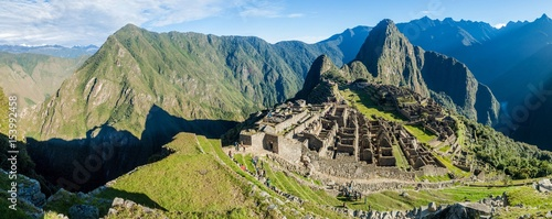 Photo Stands South America Country MACHU PICCHU, PERU - MAY 18, 2015: Panorama of Urubamba valley and Machu Picchu ruins, Peru.